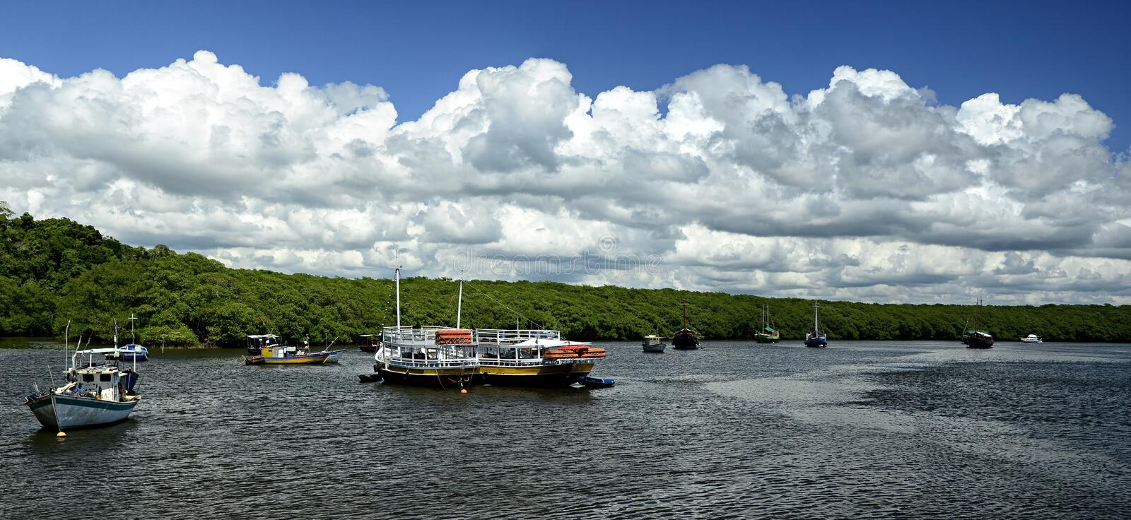 Panoramic view of the river bay stock photo
