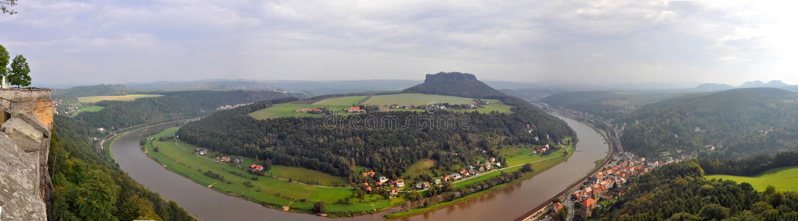 Panoramic view of river Elbe, Germany - from Bastei rocks in Saxon Switzerland stock photo