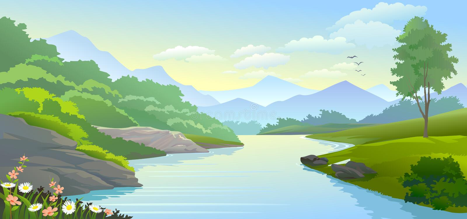 Panoramic view of river flowing in a valley stock illustration