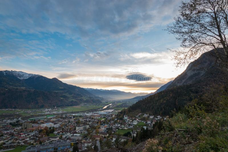 Panoramic view of river Inn valley Inntal and the local community of Jenbach stock photos