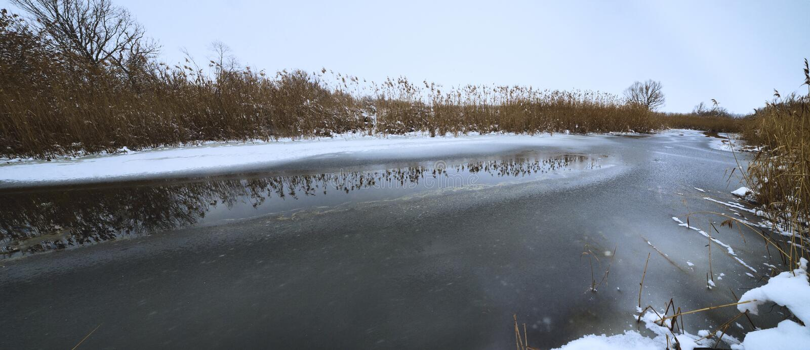 Panoramic view of river at winter stock photography