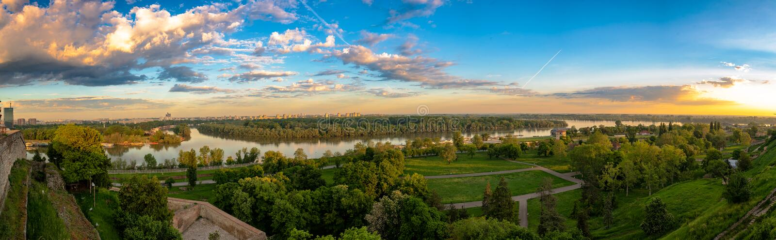 Panoramic view of the  rivers Sava and Danube in Belgrade royalty free stock photos