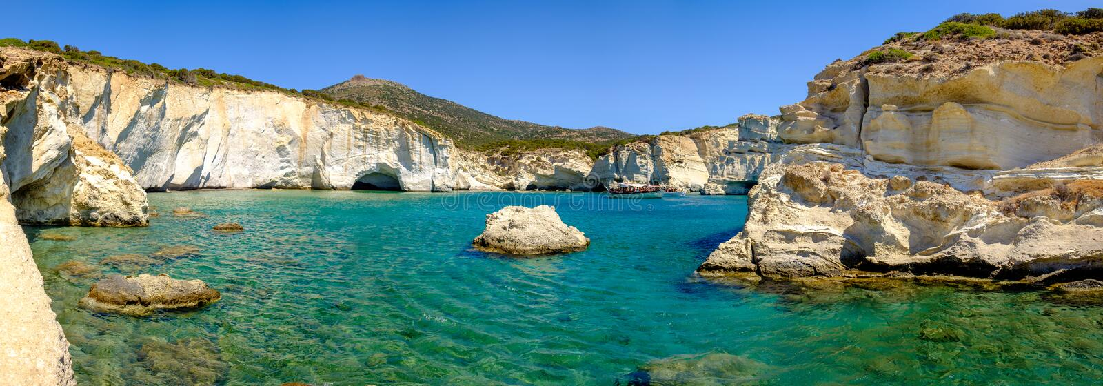 Panoramic view of rocky coastline and turqouise water, Milos, Gr stock images