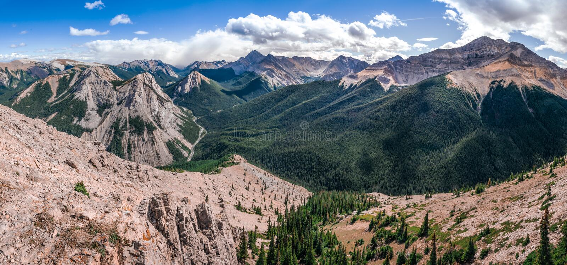 Panoramic view of Rocky mountains range, Alberta, Canada royalty free stock photo