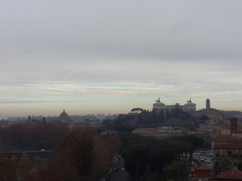 Panoramic view of Rome´s skyline stock images