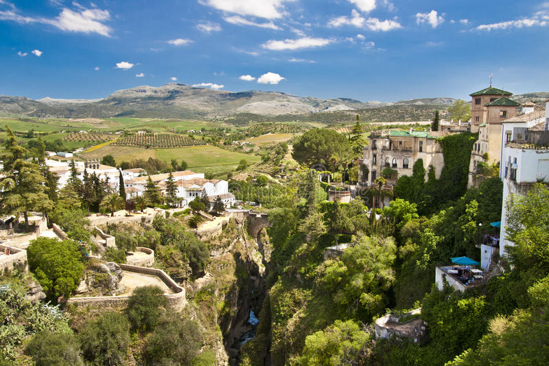 Panoramic view of Ronda, Andalusia, Spain stock photo