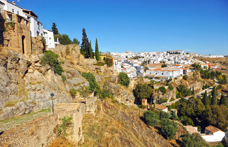Panoramic view of Ronda, Malaga province, Spain stock photo