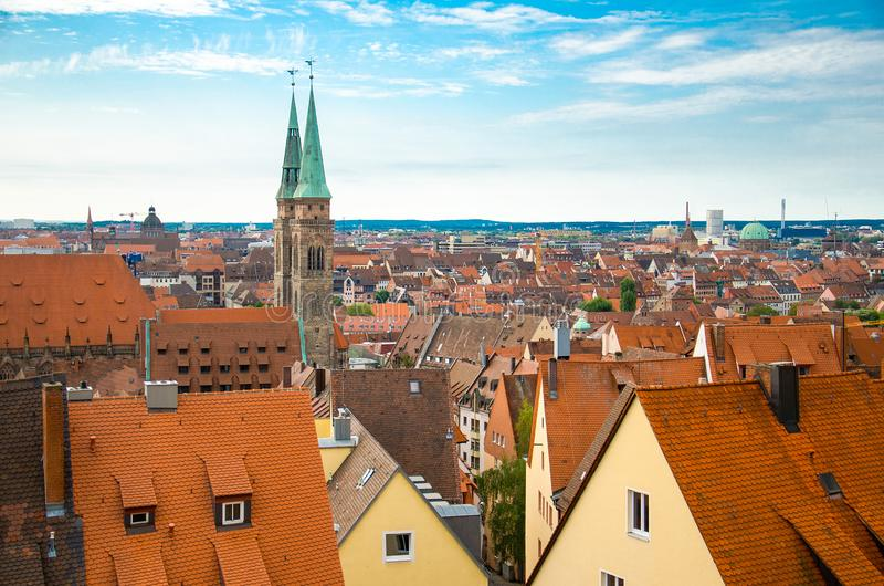Panoramic view of historic old city of Nuremberg Nurnberg, Germany stock photos