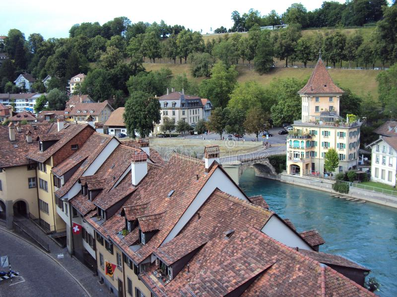 Panoramic view of the roofs of houses along the river Aare in the center of Bern. The capital of the Swiss Confederation royalty free stock photos