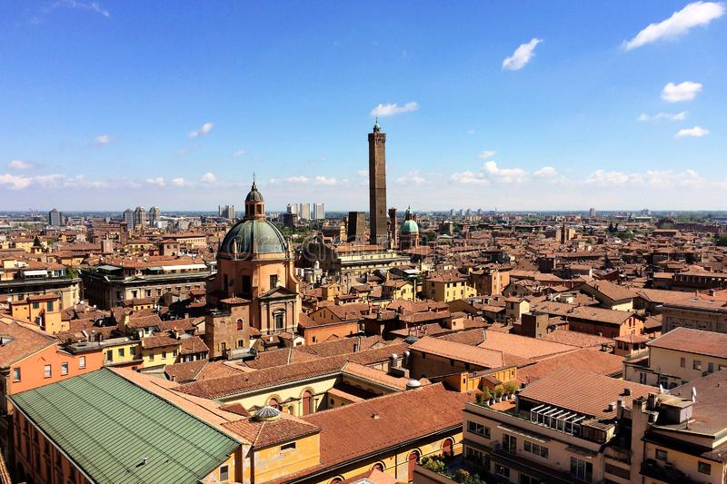 Panoramic view of the rooftops of Bologna, Italy. Aererial view of Bologna, Italy royalty free stock photo