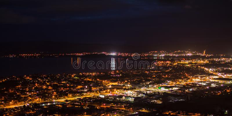 Panoramic view of Rotorua city at night stock images