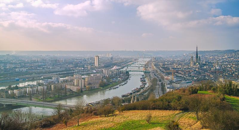 Panoramic view of Rouen and Seine River.Normandy.France stock photos