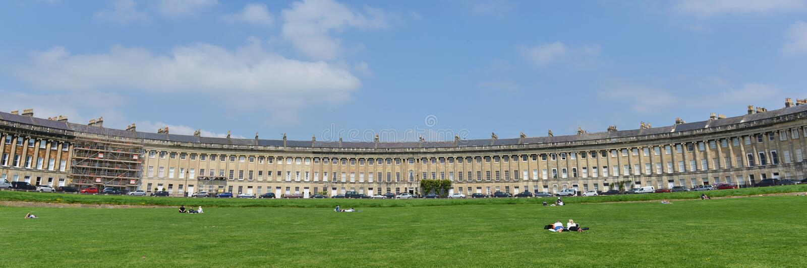Panoramic View of the Royal Crescent and Victoria Park in Bath England stock images