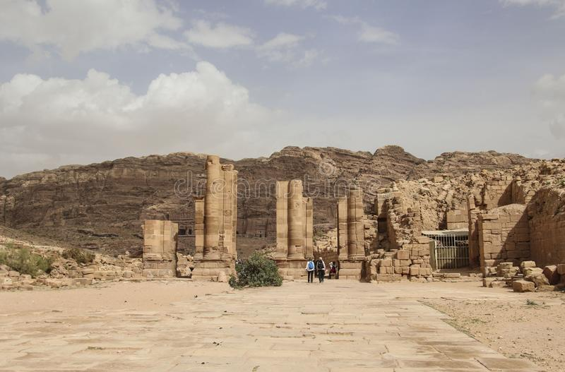 Panoramic view Ruins of Great Temple Gates in the ancient Arab Nabataean Kingdom city of Petra. Jordan royalty free stock photography