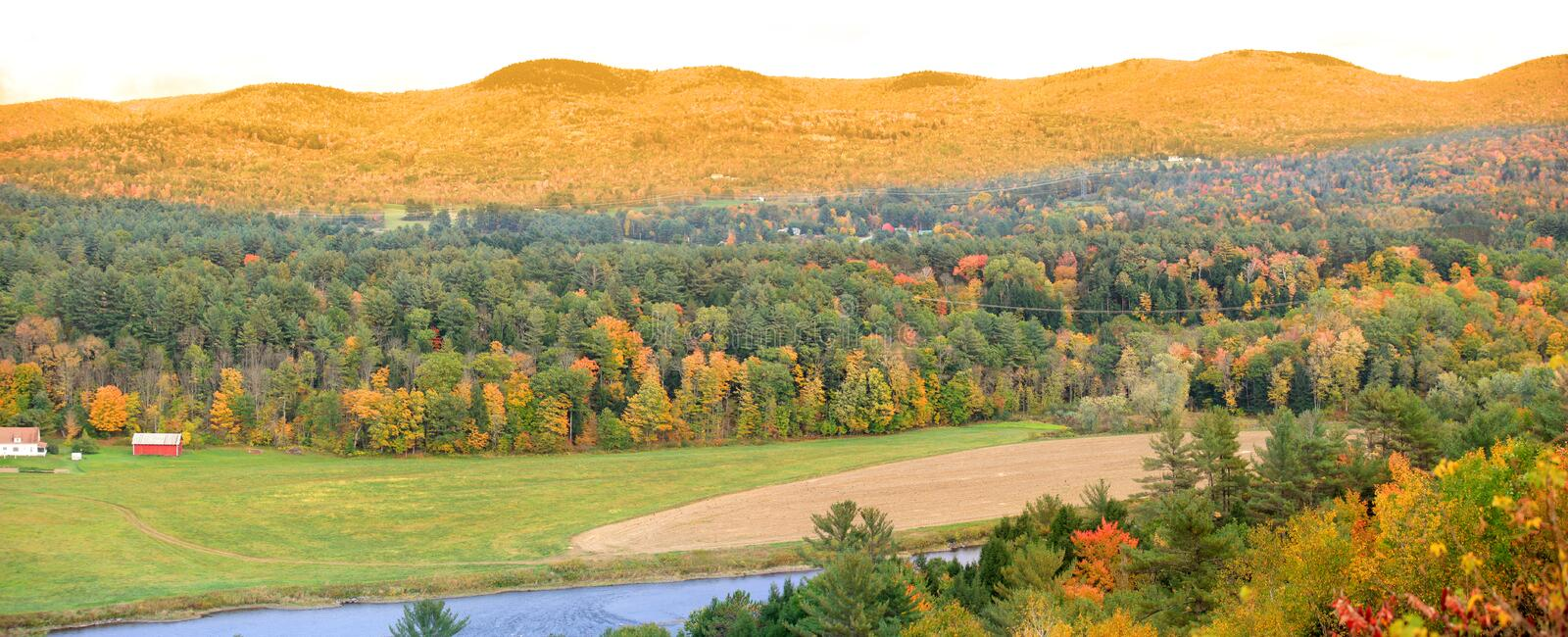 Panoramic view of rural Vermont in autumn time. stock image