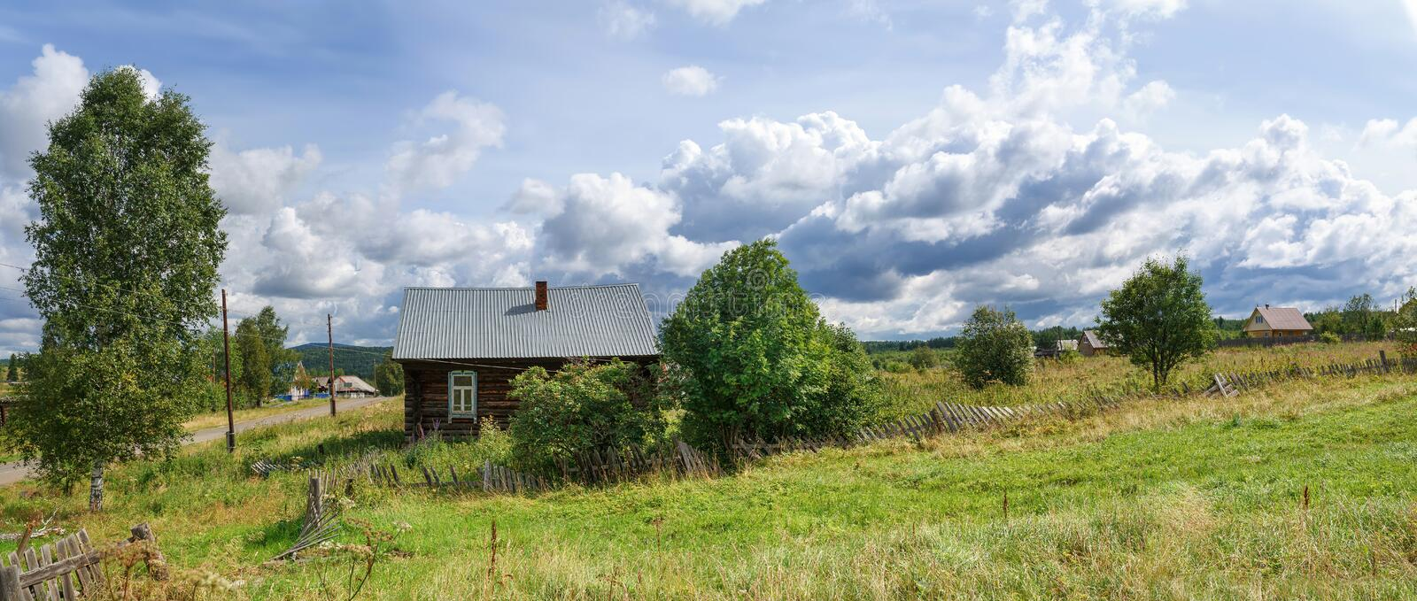 Panoramic view of the russian village in summer. Village of Visim, Sverdlovsk region, Russia stock photo