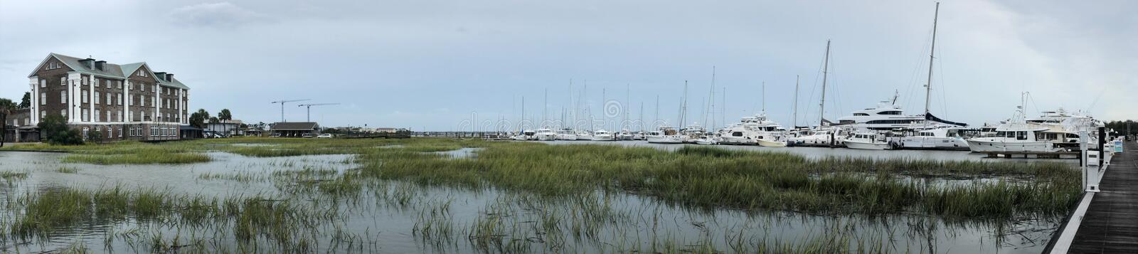 Panoramic View of Safe Harbor Charleston City Prior to Arrival of Hurricane Dorian.  royalty free stock image