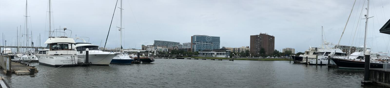 Panoramic View of Safe Harbor Charleston City Prior to Arrival of Hurricane Dorian.  stock images