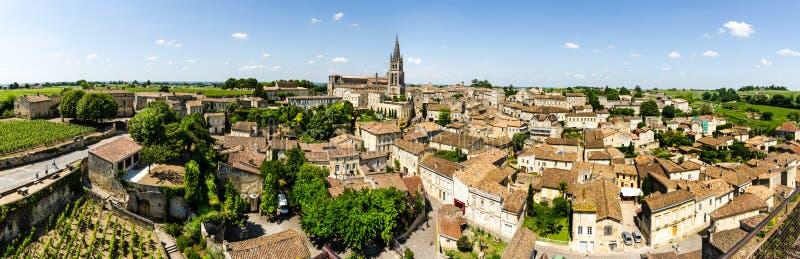 Panoramic view of Saint-Emilion, Bordeaux, France. Colorful landscape view of Saint-Emilion medieval town in Bordeaux region, France stock images