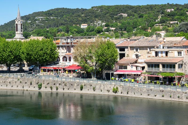 Panoramic view of Saint-Martin-d`Ardeche stock image