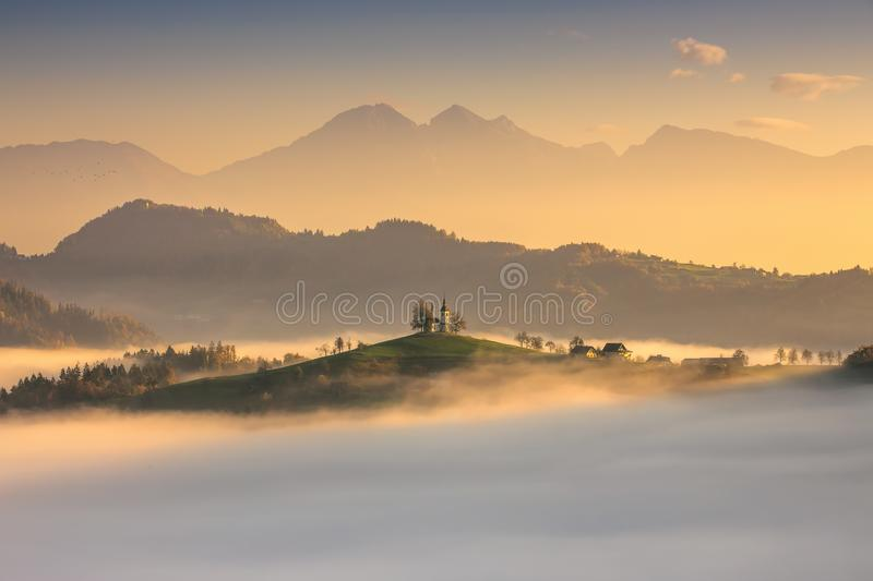 Panoramic view of Saint Tomas church, Slovenia stock photos