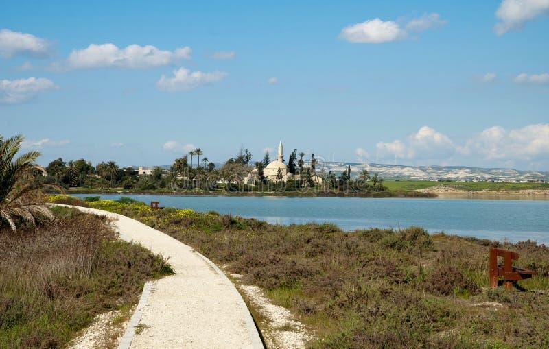 Salt lake. Panoramic view on salt lake in Larnaka,Cyprus stock image