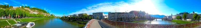 Panoramic view of Salzburg skyline with river Salzach, Salzburger Land, Austria royalty free stock photo