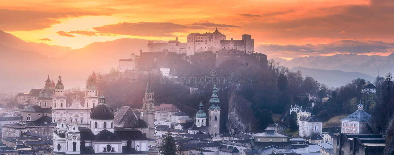 Panoramic view of Salzburg at winter morning stock photos