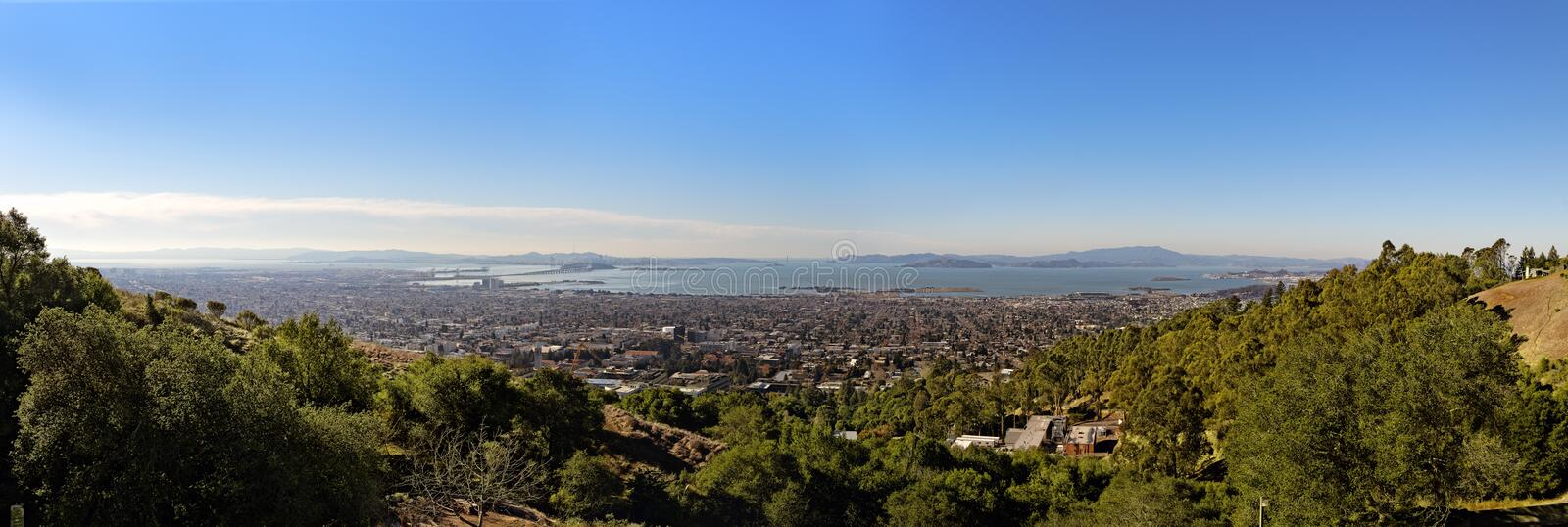 Panoramic view of the San Francisco Bay from the Lawrence Hall o. Panorama from the Lawrence Hall of Science in Berkeley CA, showing San Francisco Bay and the royalty free stock images