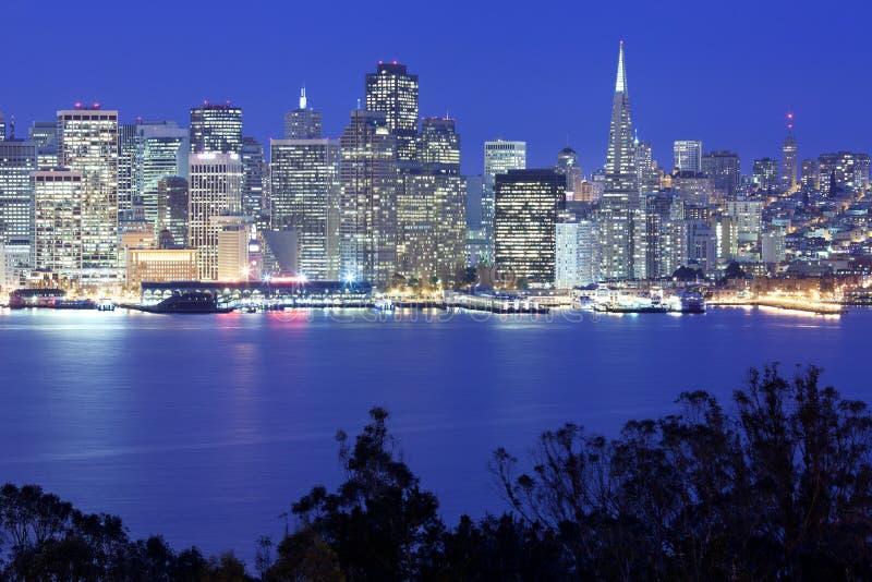 Panoramic view of San Francisco at night royalty free stock photos