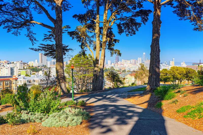Panoramic view of the San Francisco Painted ladies Victorian Houses. San Francisco, California, USA - September 10, 2018: Panoramic view of the San Francisco royalty free stock photo