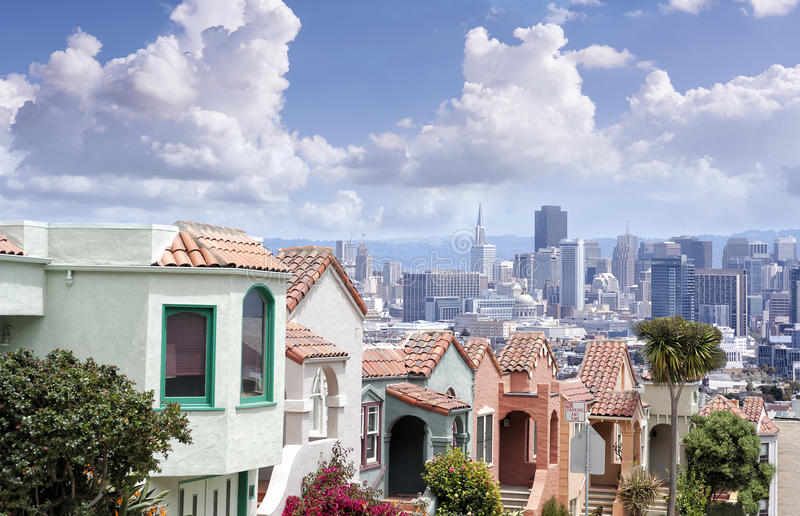 Panoramic view of San Francisco from Twin Peaks hills, California. Panoramic view of San Francisco from Twin Peaks hills with typical houses, sanny day in stock photography