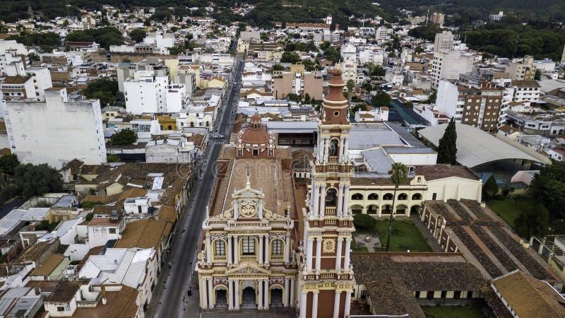 Panoramic view of San Franscico Church, Salta. Argentina stock photography