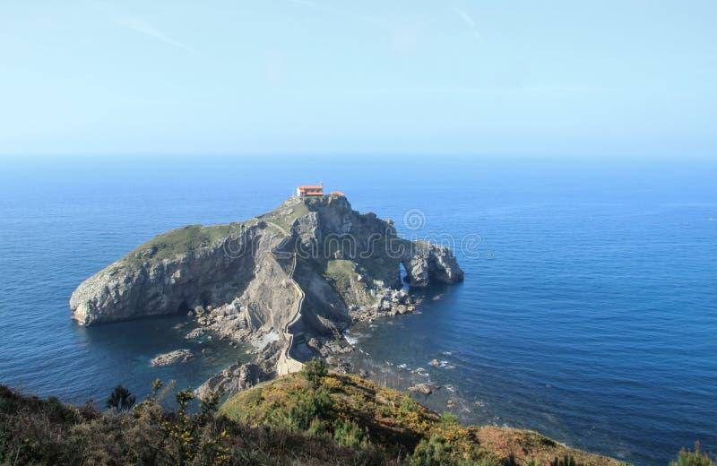 Panoramic view of San Juan de Gaztelugatxe islet stock photos