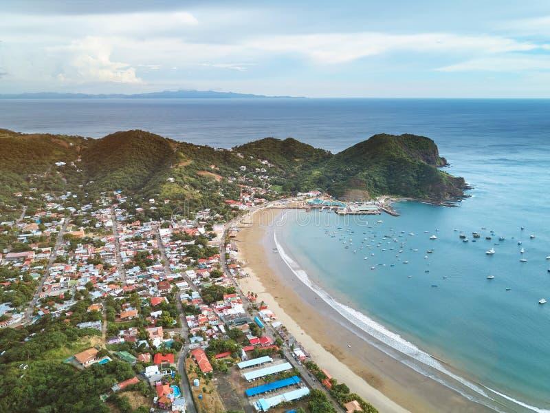 Panoramic view of san juan del sur town royalty free stock photography