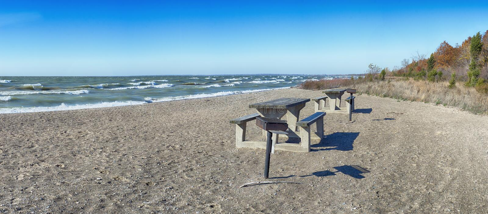 Panoramic view of sand dunes beach in lake Erie at Point Pelee N. Ational Park in southwestern Ontario during the fall stock images