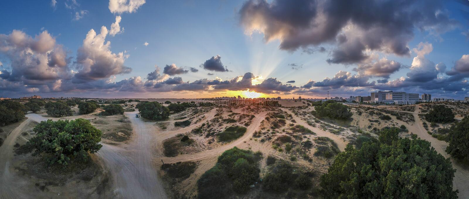 Panoramic view of sand dunes royalty free stock photo
