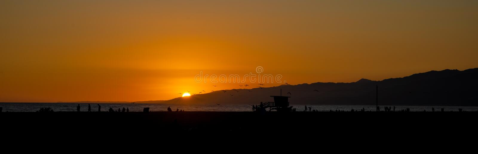 Panoramic view of Santa Monica beach in Los Angeles at sunset stock photo