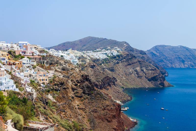 Panoramic view of the Santorini caldera, Oia village, the mountains and the sea stock images