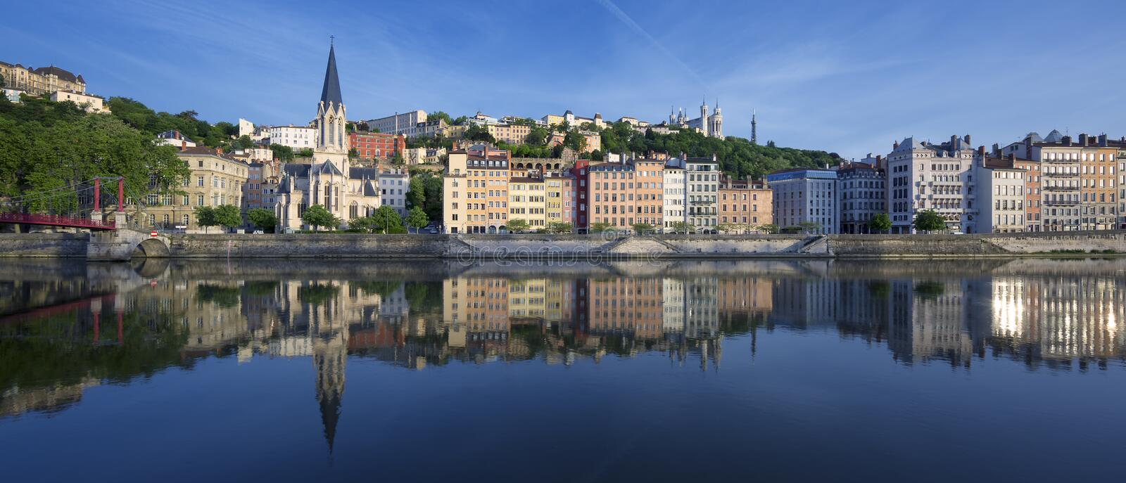 Panoramic view of Saone river in Lyon. France royalty free stock photo