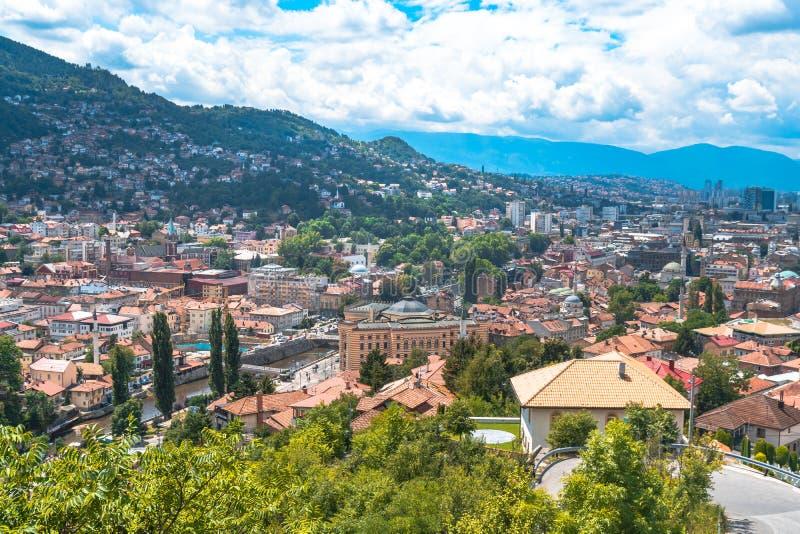 Panoramic View of Sarajevo. Panoramic view of Yellow Fortness Zuta Tabija, Vratnik in Sarajevo, Bosnia and Herzegovina royalty free stock photos