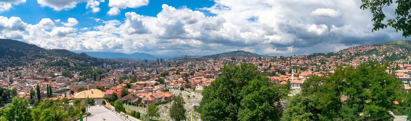Panoramic View of Sarajevo. Panoramic view of Yellow Fortness Zuta Tabija, Vratnik in Sarajevo, Bosnia and Herzegovina royalty free stock image