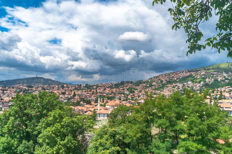 Panoramic View of Sarajevo. Panoramic view of Yellow Fortness Zuta Tabija, Vratnik in Sarajevo, Bosnia and Herzegovina royalty free stock photography