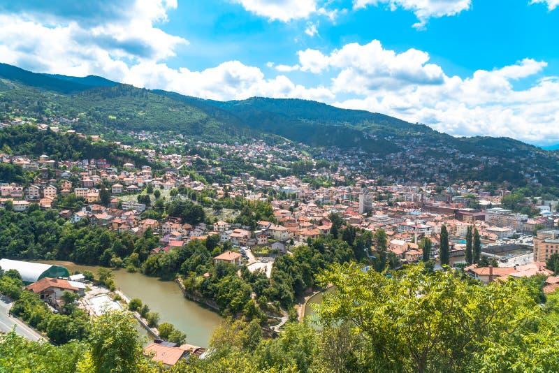 Panoramic View of Sarajevo. Panoramic view of Yellow Fortness Zuta Tabija, Vratnik in Sarajevo, Bosnia and Herzegovina stock photo
