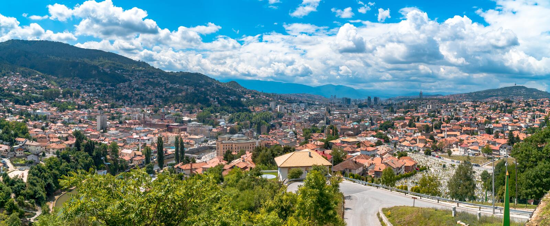 Panoramic View of Sarajevo. Panoramic view of Yellow Fortness Zuta Tabija, Vratnik in Sarajevo, Bosnia and Herzegovina stock photos