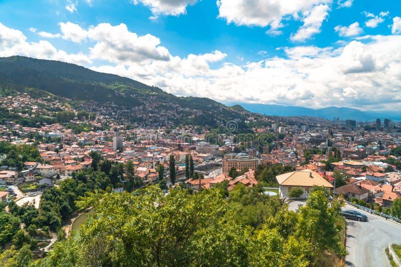 Panoramic View of Sarajevo. Panoramic view of Yellow Fortness Zuta Tabija, Vratnik in Sarajevo, Bosnia and Herzegovina royalty free stock photo