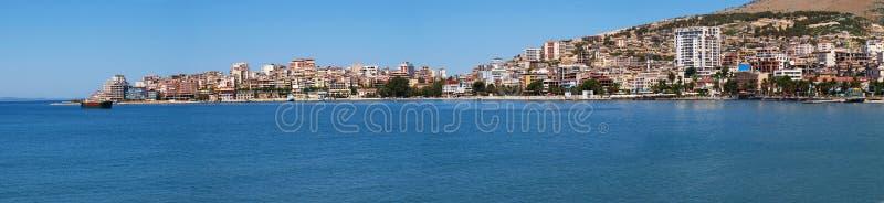 Panoramic view of Saranda, Albania. View of the Albanian port city of Saranda stock image