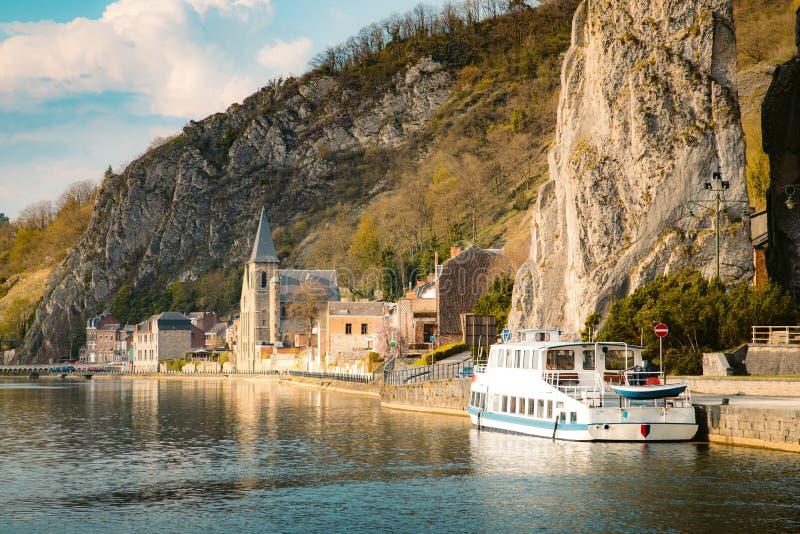 Meuse river with Bayard rock, Dinant, Belgium royalty free stock image