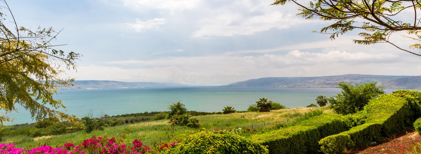 Panoramic view of the sea of Galilee from the Mount of Beatitudes, Israel royalty free stock image