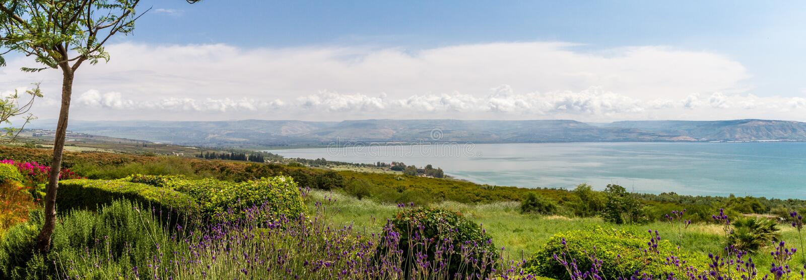 Panoramic view of the sea of Galilee from the Mount of Beatitudes, Israel royalty free stock photos